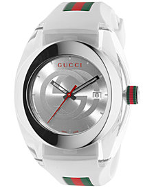 Gucci Sync Unisex Swiss White Striped Rubber Strap Watch 46mm YA137102