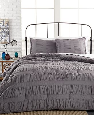CLOSEOUT! Ruched Stripes Gray 3 Piece Comforter and Duvet Cover Sets