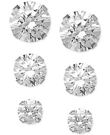 Swarovski Zirconia Round Stud Earrings Set in 14k White Gold (3/8-1-3/4 ct. t.w.)