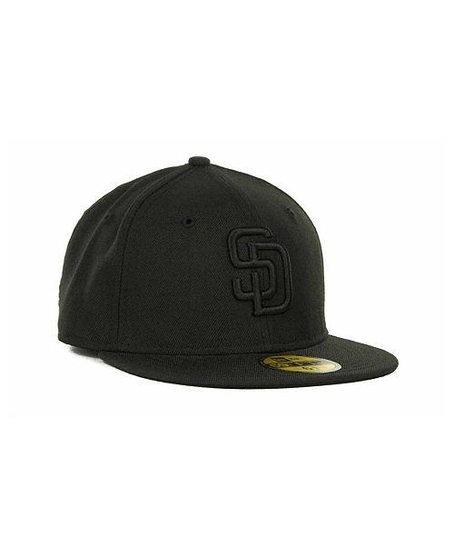 best sneakers 47ffb e05a7 New Era. Kids  San Diego Padres MLB Black on Black Fashion 59FIFTY Cap