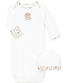 Little Me Baby Boys Safari Hat & Gown Set