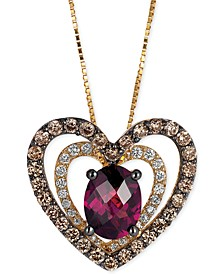 Raspberry Rhodolite® Garnet (1 ct. t.w.) and Diamond (5/8 ct. t.w.) Heart Pendant Necklace in 14k Gold