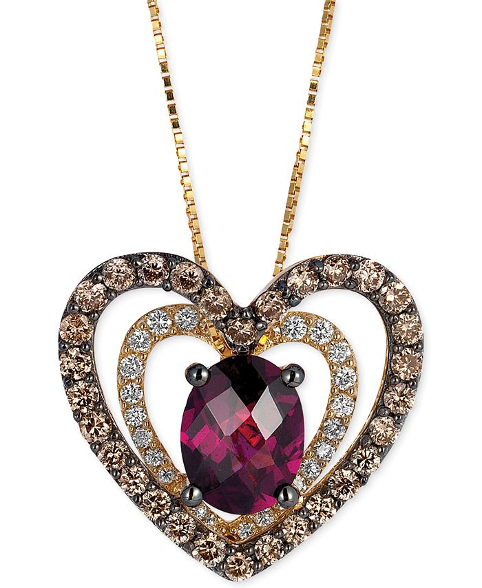 Le Vian - Rhodolite (1 ct. t.w.) and Diamond (5/8 ct. t.w.) Heart Pendant Necklace in 14k Gold