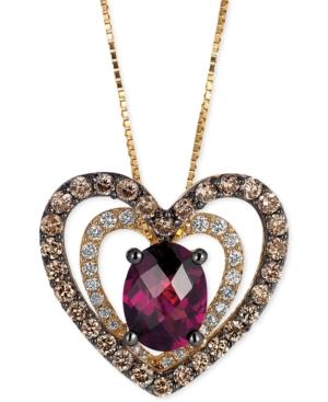 Le Vian Rhodolite (1 ct. t.w.) and Diamond (5/8 ct. t.w.) Heart Pendant Necklace in 14k Gold