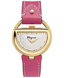 Ferragamo Women's Swiss Buckle Diamond Accent Fuchsia Leather Strap Watch 37mm FG5050014