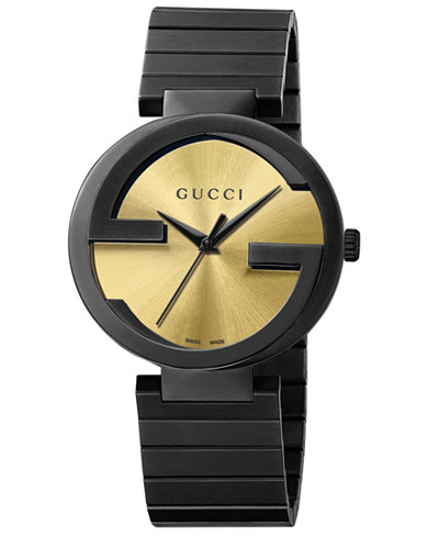 Gucci Unisex Swiss Interlocking Black PVD Bracelet Watch 42mm YA133209