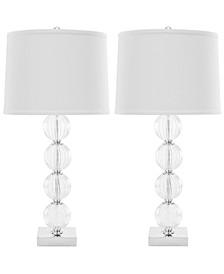 Set of 2 Amanda Black Crystal Glass Globe Lamps