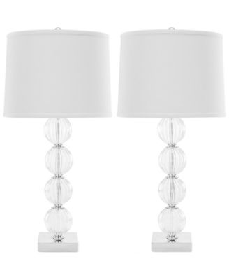 Exceptional Safavieh Set Of 2 Amanda Black Crystal Glass Globe Lamps