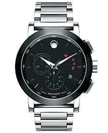 Movado Men's Swiss Chronograph Museum Sport Stainless Steel Bracelet Watch 44mm 0606792