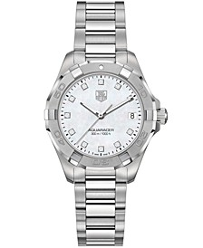 Women's Swiss Aquaracer Diamond Accent Stainless Steel Bracelet Watch 32mm
