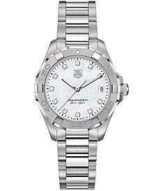 TAG Heuer Women's Swiss Aquaracer Diamond Accent Stainless Steel Bracelet Watch 32mm WAY1313.BA0915