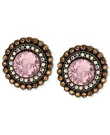 Betsey Johnson Gold-Tone Crystal Gem Button Stud Earrings