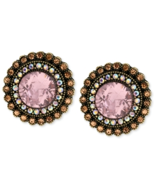 Betsey Johnson Gold-Tone Crystal Gem Button Stud Earrings