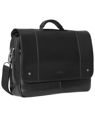 Kenneth Cole Reaction Leather Flapover Laptop Messenger Bag