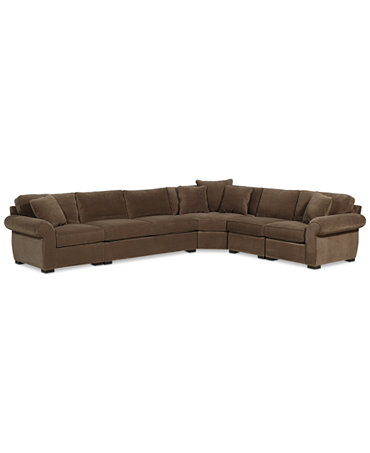 Trevor fabric 5 piece 152quot l shaped sectional sofa for Cody fabric 5 piece l shaped sectional sofa