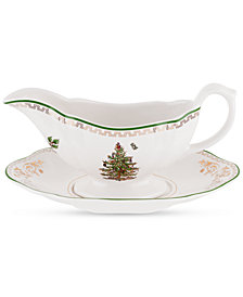 Spode Christmas Tree Gold and Green Sauce Boat and Stand