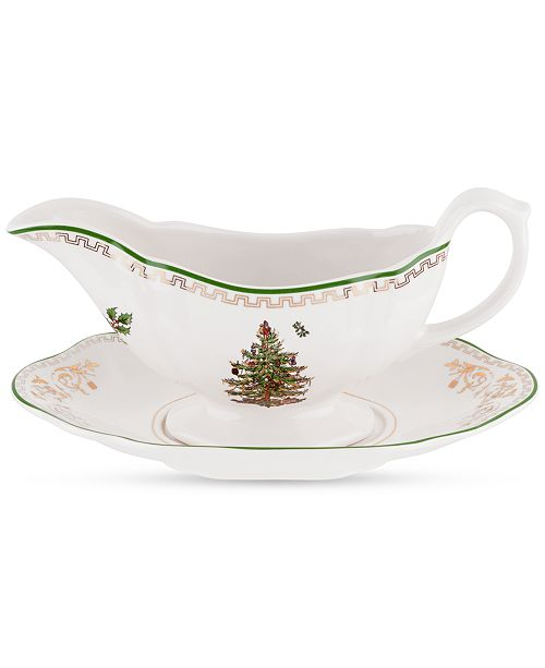 Spode Christmas Tree Gold Sauce Boat and Stand