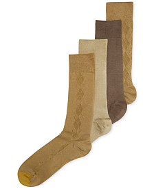 Gold Toe Men's Socks, Microfiber Assorted Textures Dress Crew 4-Pack, Created for Macy's