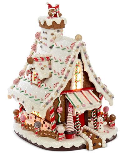 Christmas Cake With Lit Houses