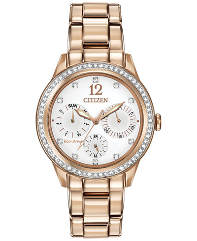 Citizen Women's Chronograph Eco-Drive Silhouette Crystal Rose Gold-Tone Stainless Steel Bracelet Watch 37mm FD2013-50A