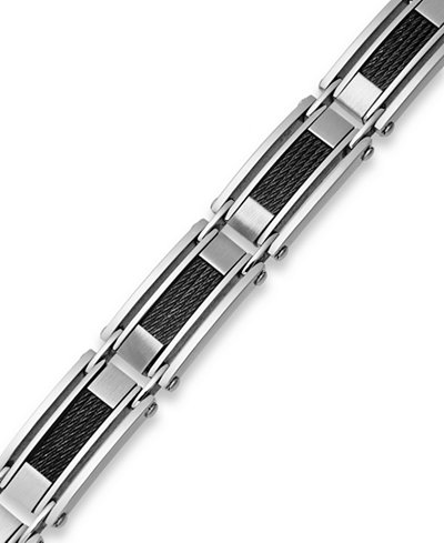 Sutton by Rhona Sutton Men's Stainless Steel Cable Slot Link Bracelet