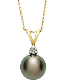 Tahitian Pearl (8mm) and Diamond Accent Pendant Necklace in 14k Gold