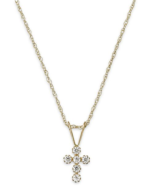 Macy's Children's Cubic Zirconia Cross Pendant Necklace in 14k Gold