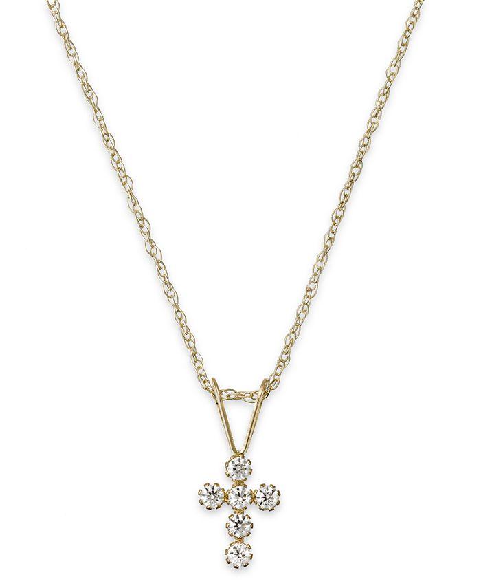 Macy's - Children's Cubic Zirconia Cross Pendant Necklace in 14k Gold