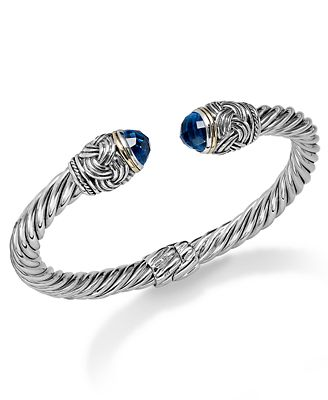 Balissima by Effy Blue Topaz Hinge Bangle Bracelet in 18k Gold and