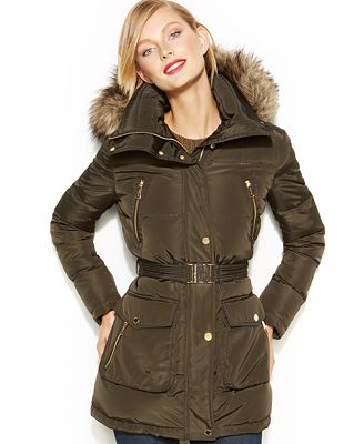 a7f2784341df ... Quilted Belted Jacket MICHAEL Michael Kors Hooded Faux-Fur-Trim Down  Puffer Coat ...