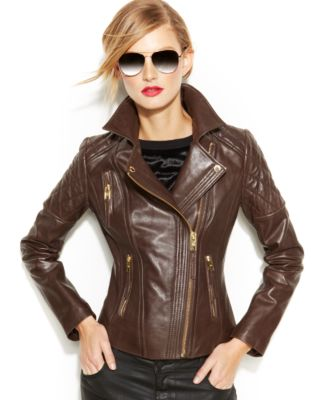Michael kors women's leather moto jacket