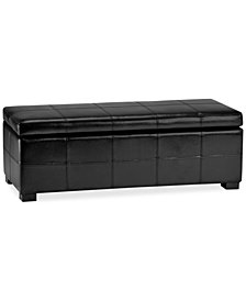Aurora Faux Leather Storage Bench, Quick Ship