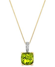 Peridot (2-1/5 ct. t.w.) and Diamond Accent Pendant Necklace in 14k Gold