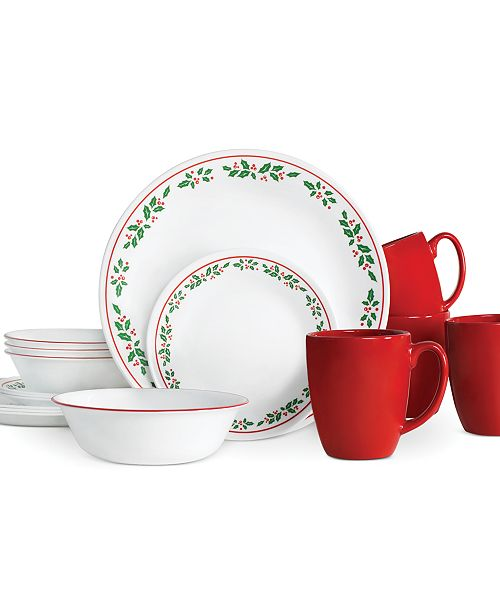 Corelle Winter Holly 16-Piece Set, Service for 4 - Dinnerware ...