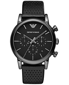 Men's Chronograph Perforated Black Leather Strap Watch 41mm AR1737
