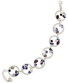 Blue, Purple and White Crystal Bracelet in Platinum over Sterling Silver