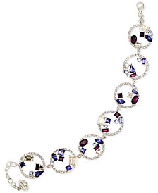 SIS by Simone I Smith Blue, Purple and White Crystal Bracelet in Platinum over Sterling Silver