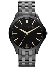 A|X Armani Exchange Men's Black Ion-Plated Stainless Steel Bracelet Watch 45mm AX2144