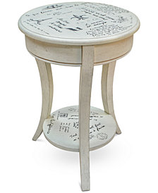 Carrie Vintage French Script Accent Table, Quick Ship
