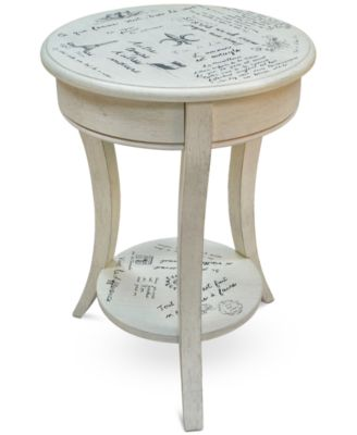 Lovely Carrie Vintage French Script Accent Table, Quick Ship