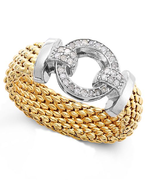 Macy's Diamond Mesh and Circle Accent Ring in Vermeil and Sterling Silver (1/5 ct. t.w.)