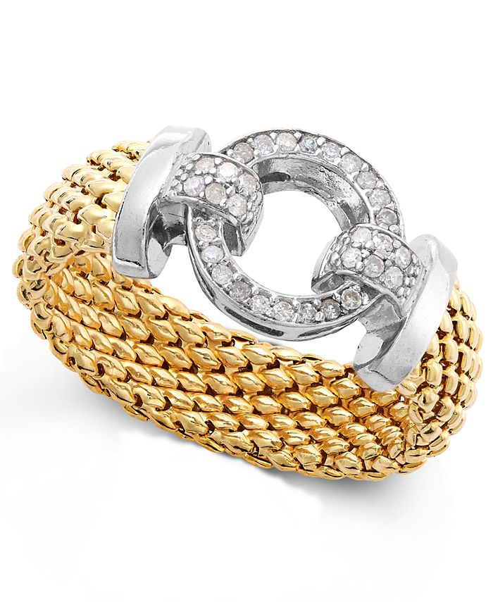 Macy's - Diamond Mesh and Circle Accent Ring in Vermeil and Sterling Silver (1/5 ct. t.w.)