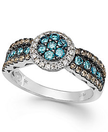 Le Vian Chocolate, Blue and White Diamond Ring in 14k White Gold (9/10 ct. t.w.)