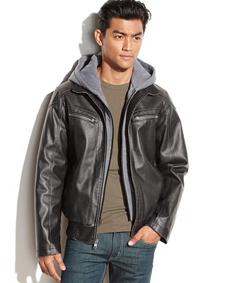 Vince Camuto Hooded Faux Leather Bomber Jacket - Coats & Jackets ...