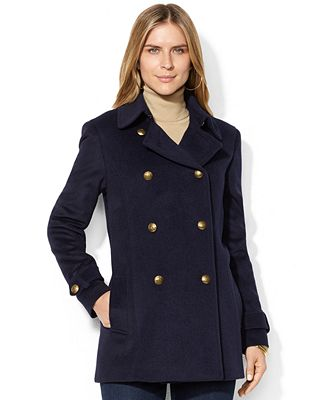 Lauren Ralph Lauren Metal-Button Double-Breasted Pea Coat - Coats ...