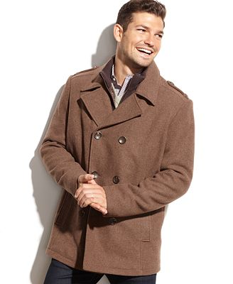 Kenneth Cole Wool-Blend Knit-Bib Military Pea Coat - Coats ...