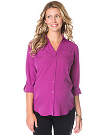 Motherhood Maternity Tab-Sleeve Button-Front Shirt