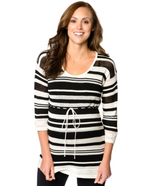 Motherhood Striped Pointelle-Knit Maternity Sweater plus size,  plus size fashion plus size appare