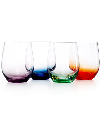 Closeout The Cellar Set Of 4 Assorted Color Stemless Wine