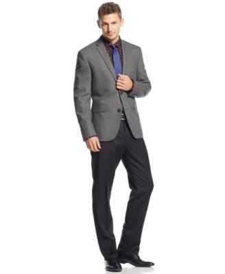 Silver suit jacket black pants